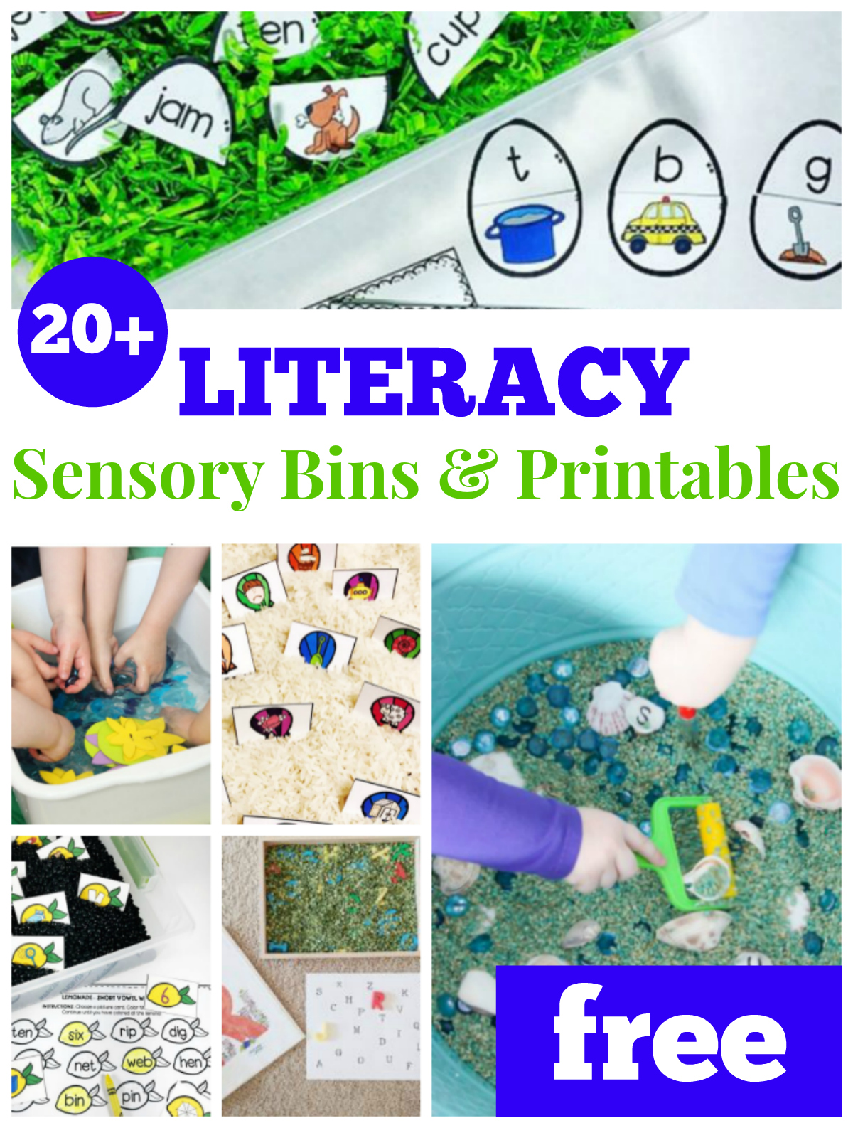 20+ Literacy Sensory Bins and Printable for Pre-K and Kindergarten, free