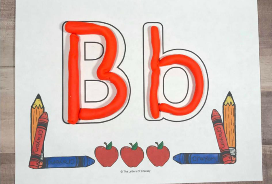 Back to School Alphabet Play Dough Mats, free printable for pre-k and kindergarten