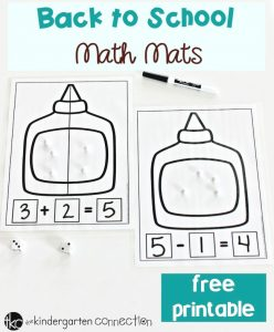 Back to School Addition and Subtraction Math Mats