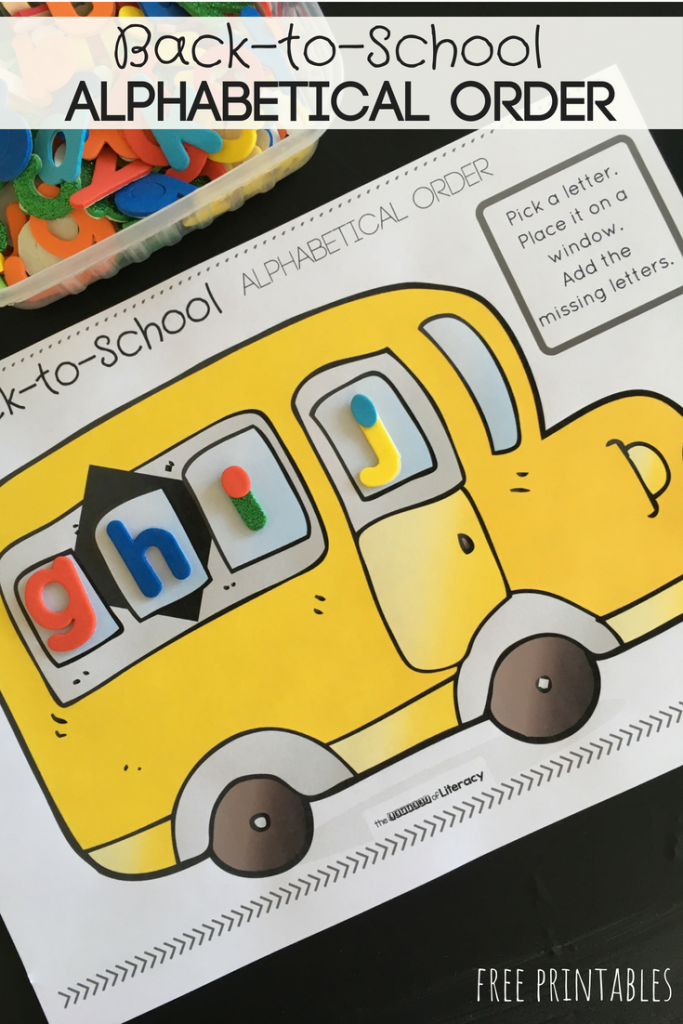 Back-to-School Alphabetical Order Activity, FREE Printable for pre-K and Kindergarten