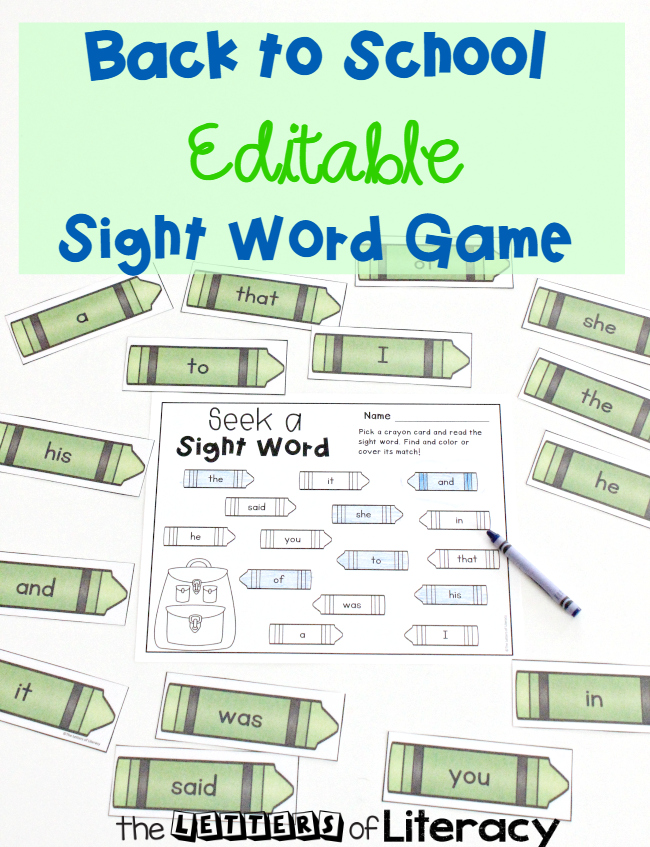 Back to School Editable Sight Word Game, FREE Printable for Kindergarten!