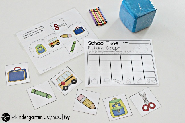 Back to School Roll and Graph Math Activity, free printables for Pre-K and Kindergarten