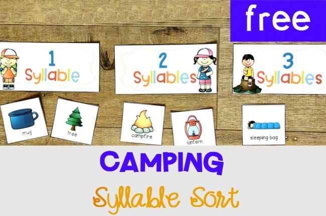 pCamping Syllable Sort, FREE Printable