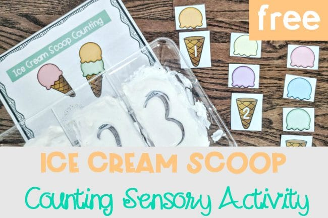 Ice Cream Scoop Counting Sensory Activity free printables for summertime fun for pre-K and kindergarten