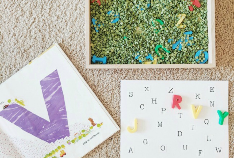 Letter Match Sensory Bin for Pre-K and Kindergarten