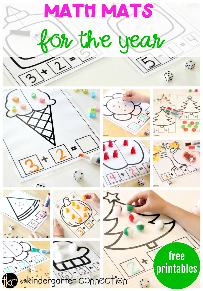 Free Printable Math Mats for the year