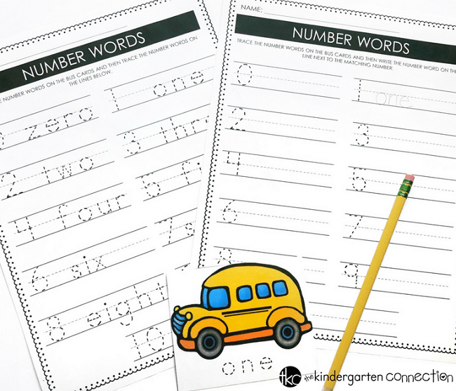 School Bus Tracing Number Words, FREE printable cards for Back to School season in Kindergarten!