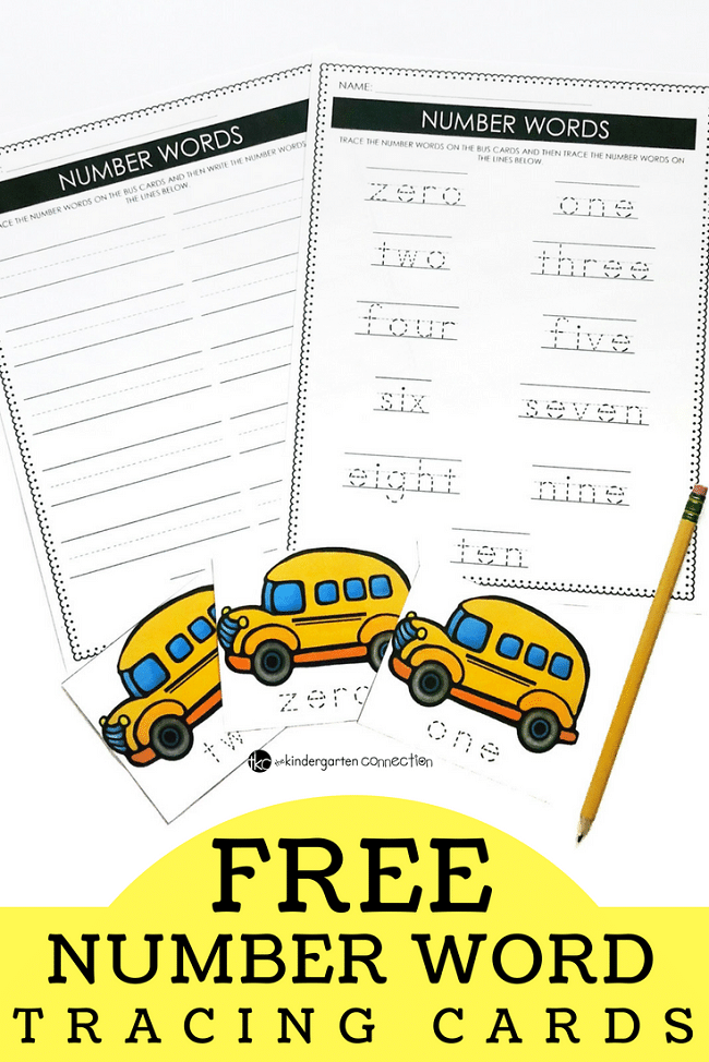 School Bus Tracing Number Words, free printable cards for kindergarten back to school season