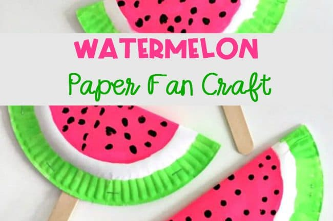 Paper Fan Watermelon Craft for Kids with frugal supplies