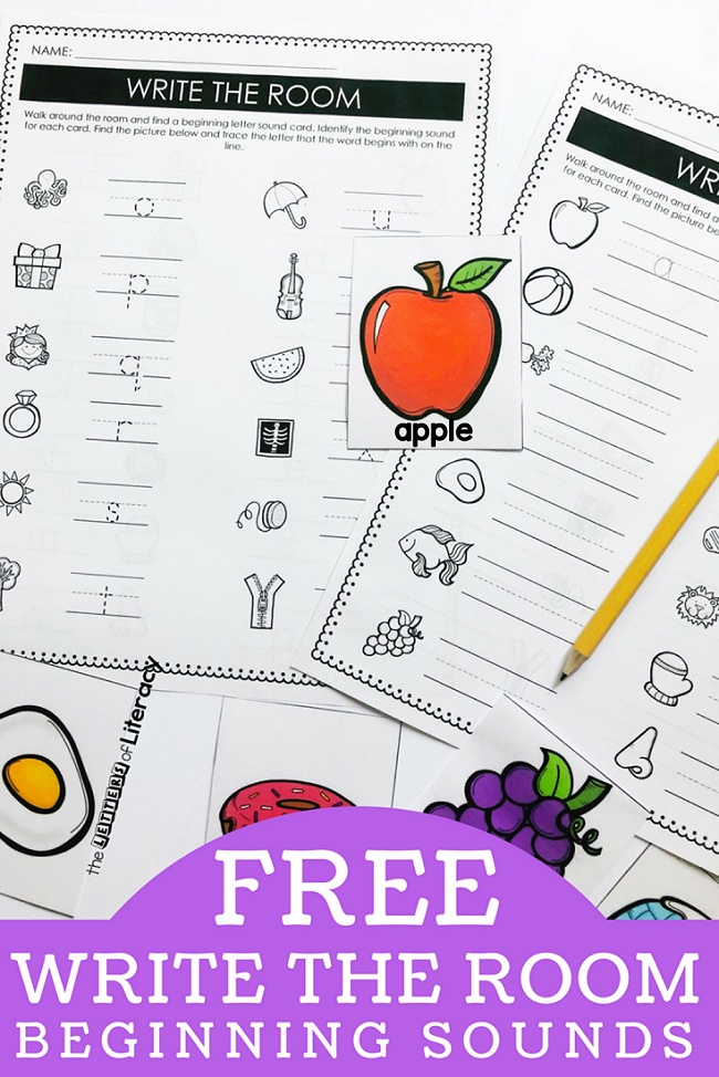 FREE Printable Write the Room Beginning Sounds Center Activity for Kindergarten!