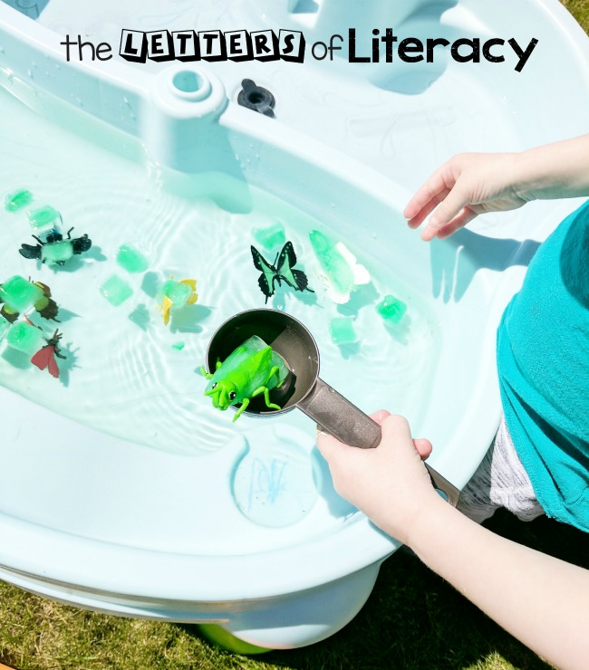 Literacy Based Water Table Ideas for outdoor fun! These activities are perfect for enjoying the summer weather!