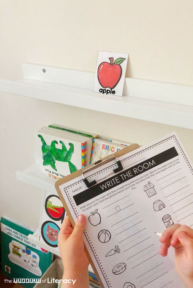 This free printable beginning sounds write the room activity is perfect for Kindergarten or 1st grade writing centers for learning the alphabet!