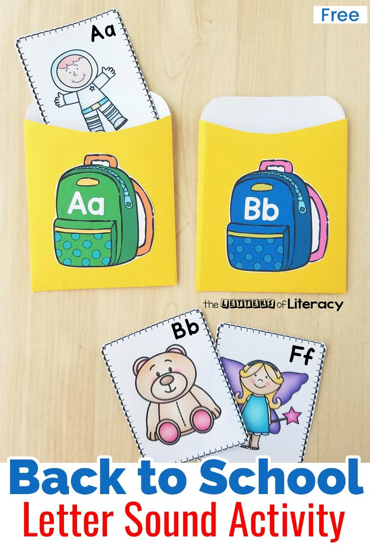 Back to School Beginning Sound Sort Activity for pre-k and kindergarten! Free printable for your literacy center!