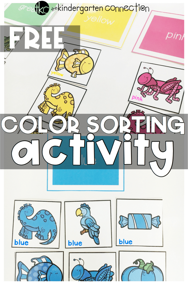This free printable color sorting activity is perfect for preschool and kindergarten centers! Learn colors and color words, too!