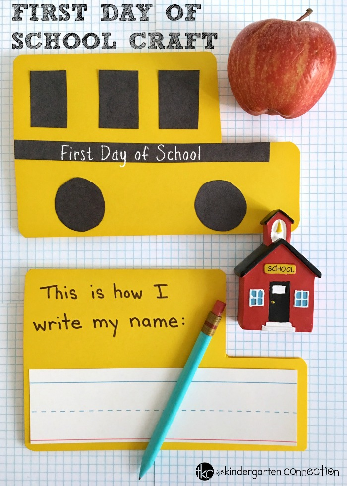 First Day of School Craft and Writing Prompt for Kindergarten