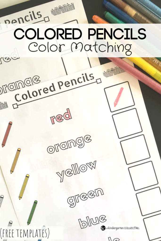 Colored Pencils Color Matching Activity for pre-K and Kindergarten, FREE Printable