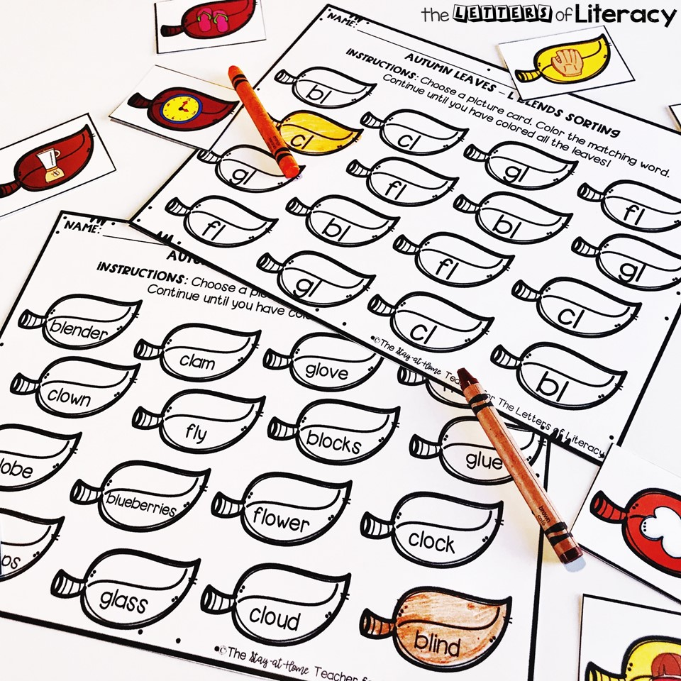"Fall Sensory Bin and Printables for practicing ""L Blends."" Free printables for your literacy centers."