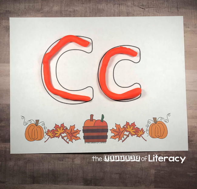Fall Alphabet Play Dough Mats, perfect for pre-K and Kindergarten. Fun FREE printables for fall center activity!
