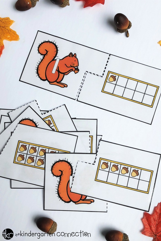These free printable acorn 10 frame puzzles and recording sheet are perfect for a fall-themed Pre-K or Kindergarten math center!