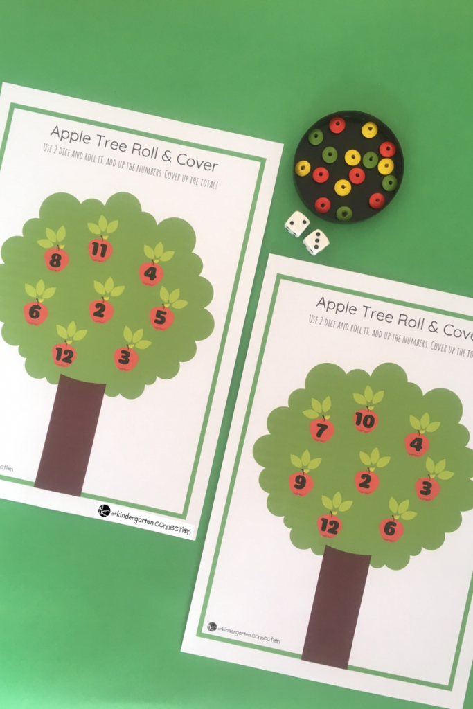 Apple Tree Roll and Cover Math Game for Kindergarten and 1st Grade, FREE Printable for math centers!