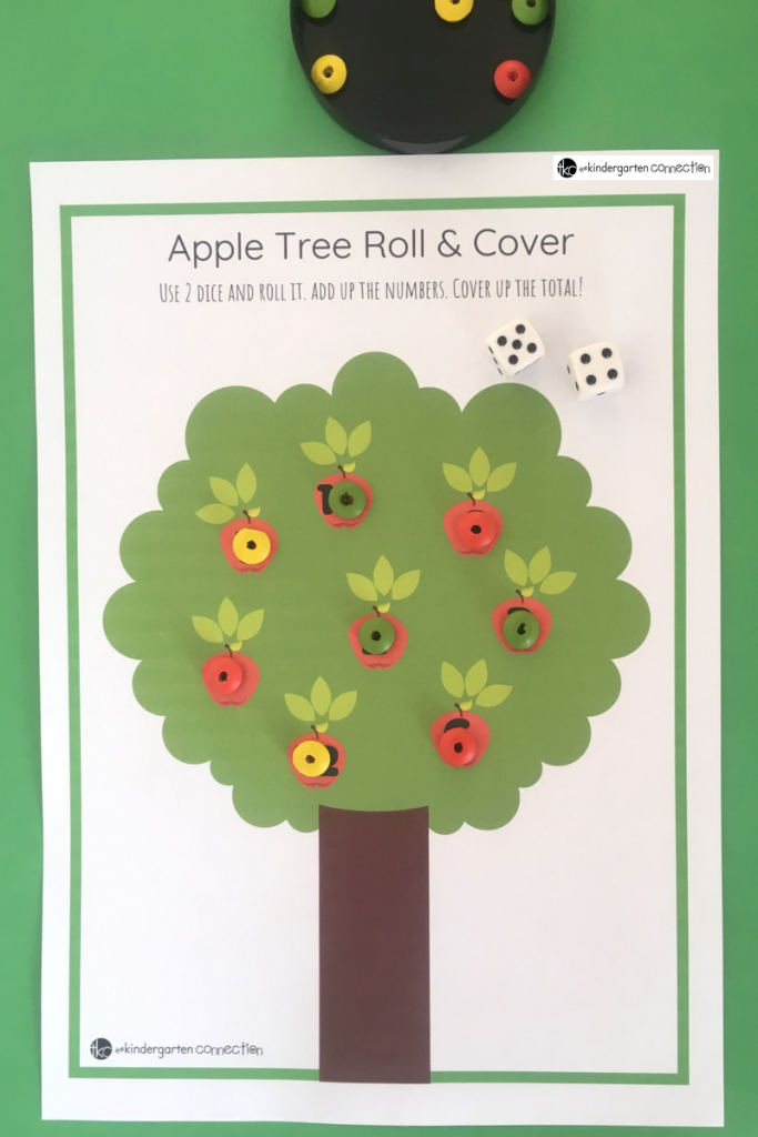Apple Tree Roll and Cover Math Game for Kindergarten or 1st Grade, FREE Printable activity for math centers!