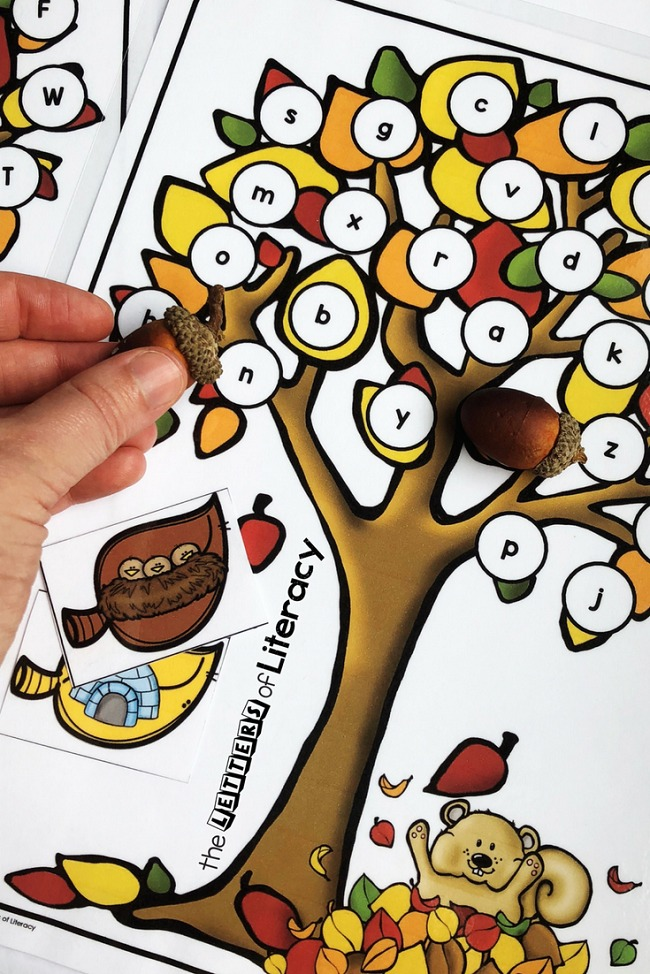 Fall Leaves Beginning Sounds Activity, perfect for pre-K and kindergarten, for use in a literacy center as an ABC pick and find activity.