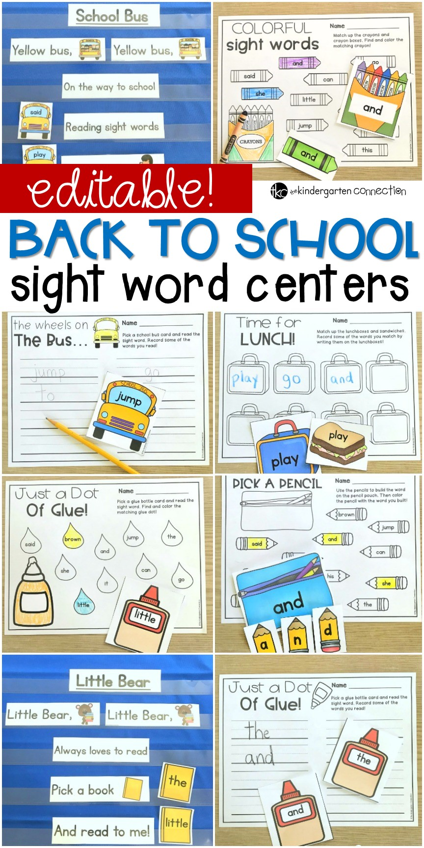 This pack of Back to School sight word games and centers is perfect for Kindergarten or 1st grade literacy centers! They are EDITABLE for any word list!