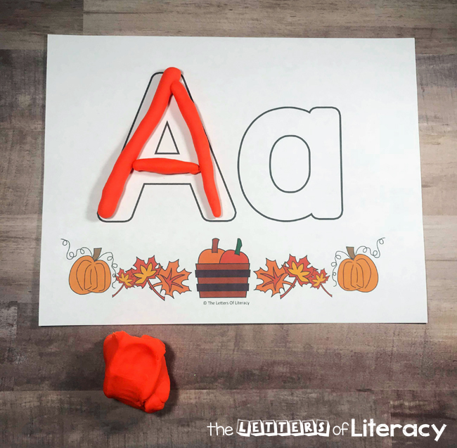 Fall Alphabet Play Dough Mats, perfect for pre-K and Kindergarten. Fun FREE printables for fall center activity!