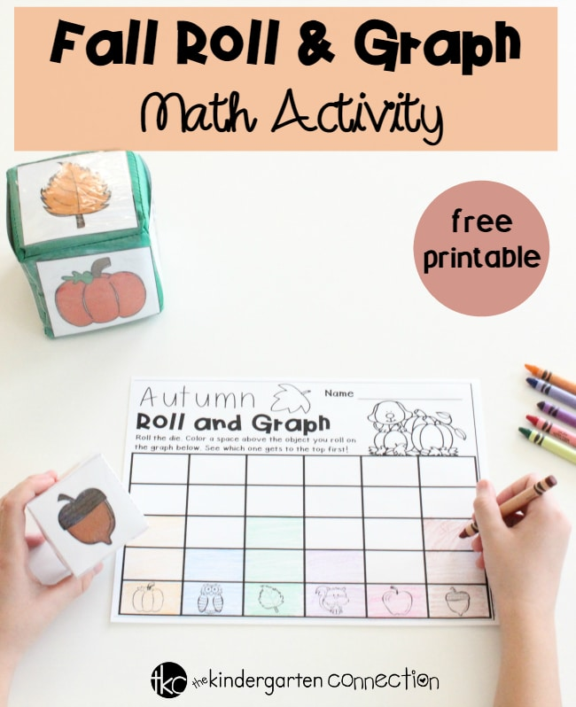 This free Fall Roll and Graph Math Activity is perfect for math centers or partner work in Pre-K and Kindergarten! Children will enjoy rolling a die to race to the top of the graph to see who the winner is!