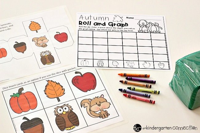 Fall Roll and Graph Math Activity, FREE printable for math center or small groups for Pre-K and Kindergarten!