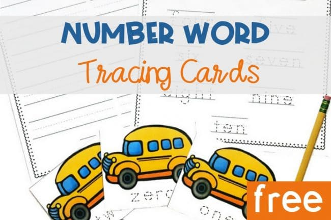 School Bus Tracing Number Word Cards, FREE