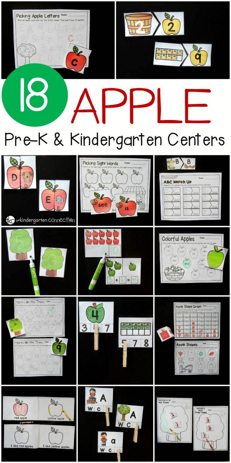 Kindergarten Apple Centers for Fall Math and Literacy