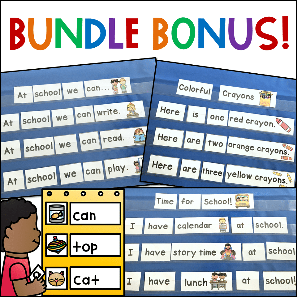 Back to School pocket chart sentences for Kindergarten