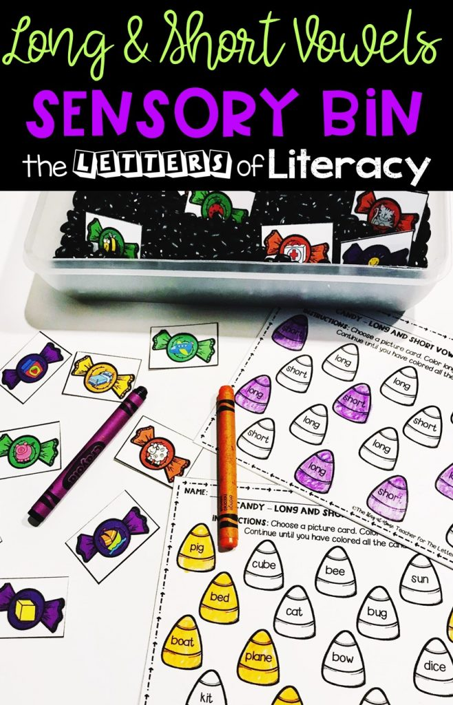 Do you love learning with sensory bins? This Halloween sensory bin is perfect for October in a Kindergarten or 1st grade classroom as a literacy center!