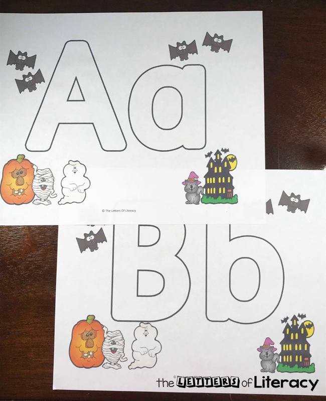 Free Halloween Full Alphabet Play Dough Mats are perfect Halloween themed activity to help motivate kids to practice upper and lowercase letter recognition and formation!