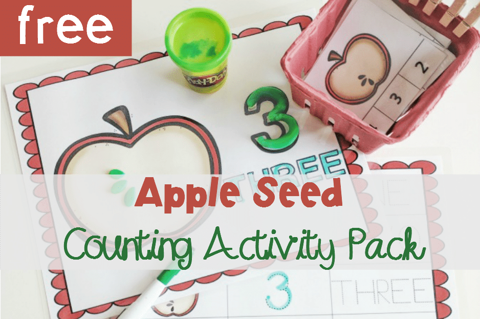 Apple Seed Counting Activity Pack, free printables for pre-K and Kindergarten