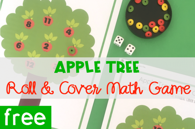 Apple Tree Roll and Cover Math Game, FREE Printable math center