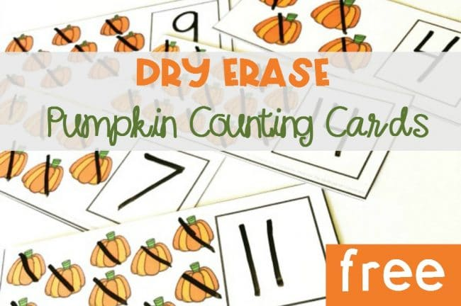 Dry Erase Pumpkin Counting Cards
