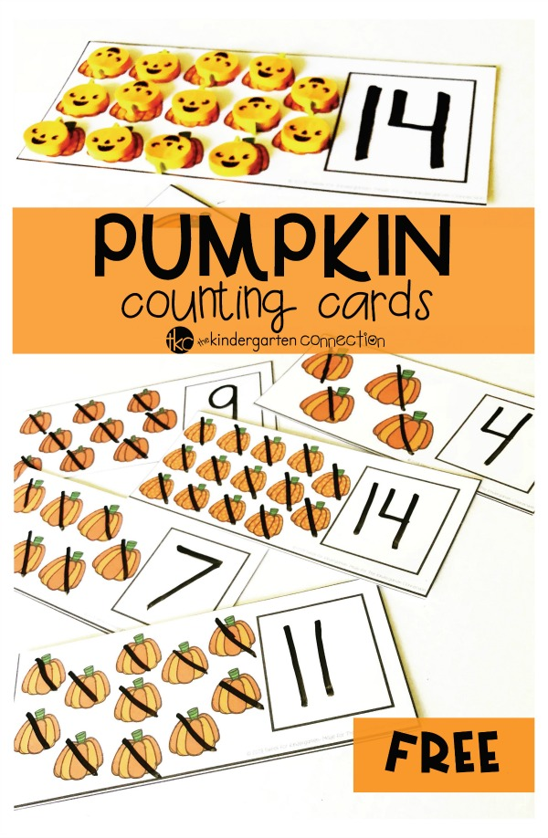 Free Dry Erase Pumpkin Counting Cards for Kindergarten math centers!