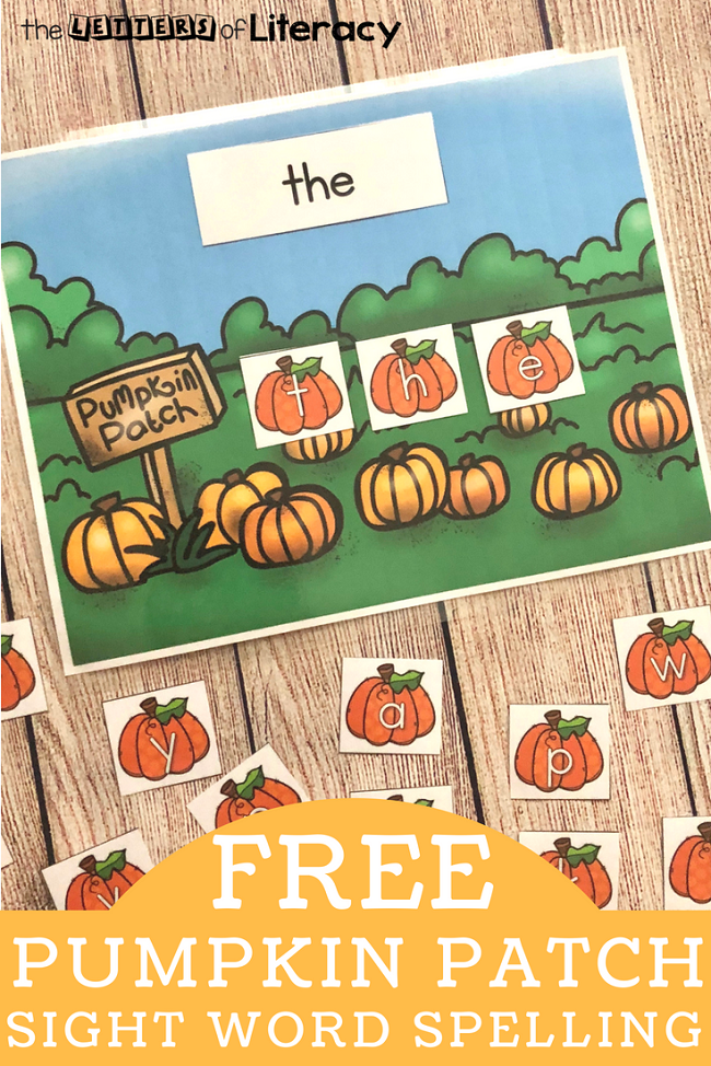 Work on sight words and spelling this fall with this fun and free printable pumpkin patch sight word center! Perfect for Kindergarten and 1st grade!