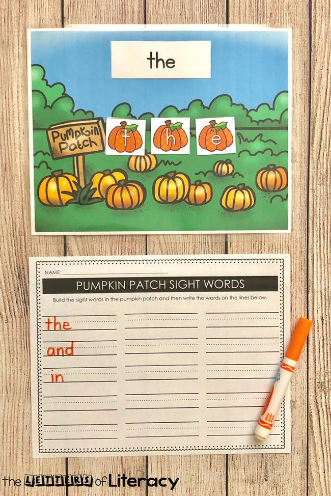 Pumpkin Patch Sight Word Spelling with recording sheet