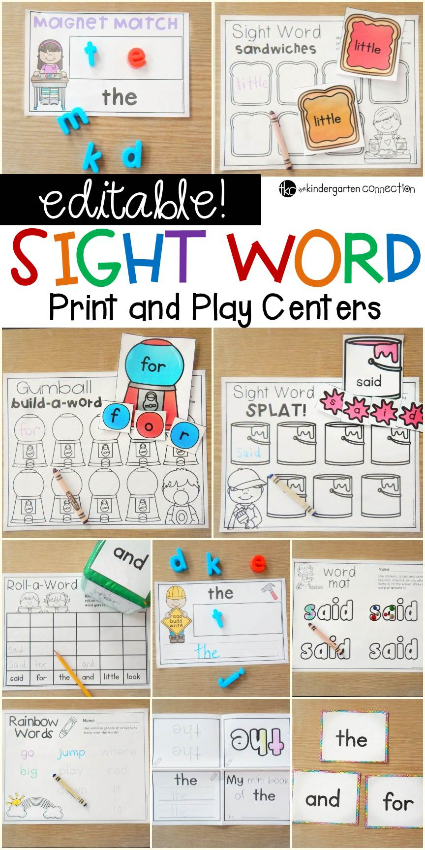 Editable Sight Word Centers for Kindergarten