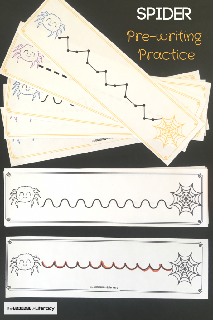 Working on pre-writing skills with your Preschooler or Kindergartener? These spider pre-writing practice printables can help and are fun for Halloween!