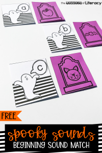 Halloween Beginning Sounds Activity, FREE Spooky Sounds Letter Match Literacy Center for Kindergarten!