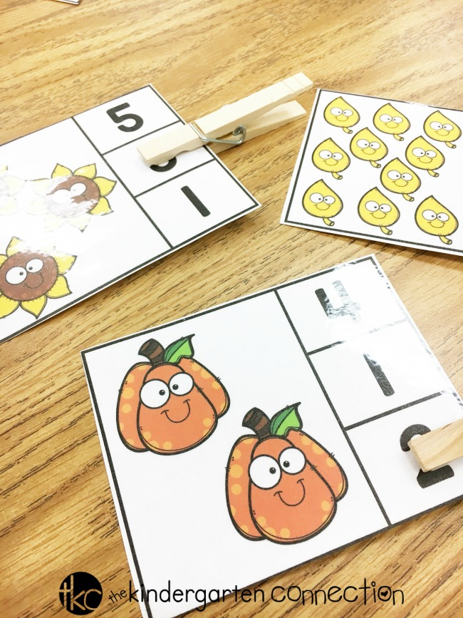 These free printable Fall Counting Clip Cards focus on counting and number identification for numbers 1-10. They make the perfect addition to your math centers this fall!