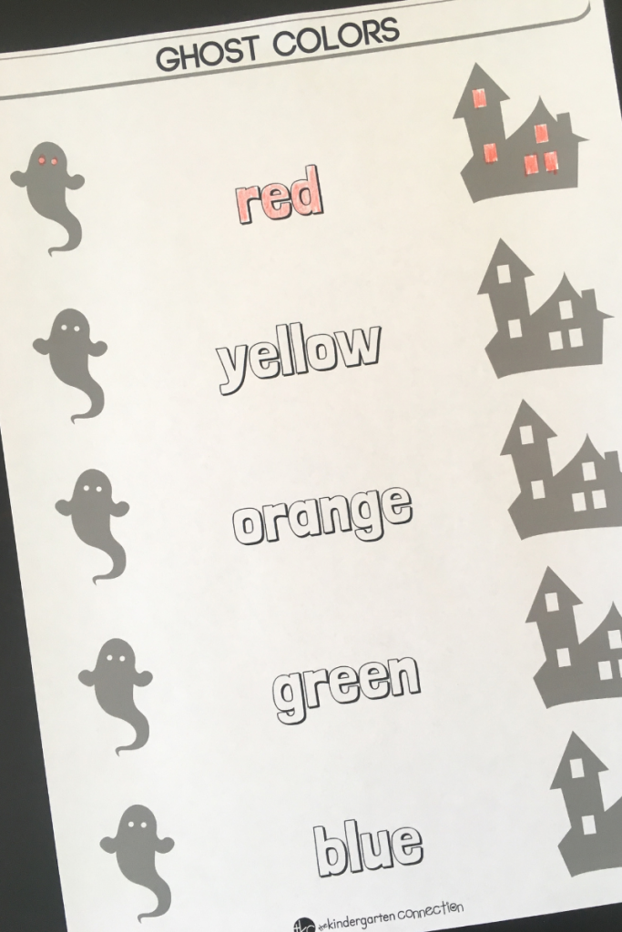 learning color words Halloween printable