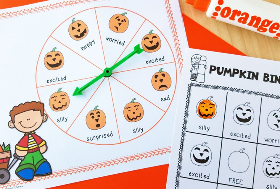 Pumpkin Emotion Words Halloween Bingo Activity
