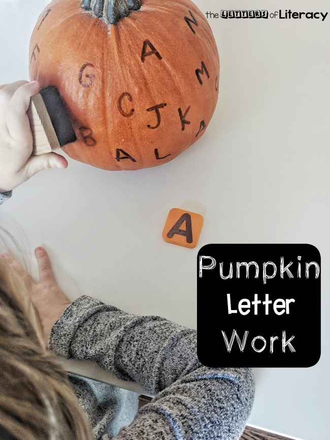 Easy DIY Pumpkin Alphabet Activity for pre-K and Kindergarten! Grab a pumpkin and some dry erase markers or stamps for an instant literacy activity!