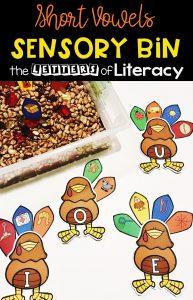 FREE Thanksgiving CVC Sensory Bin Printables for Kindergarten!