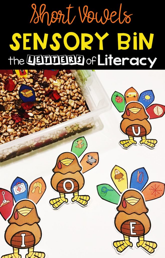 Thanksgiving CVC Sensory Bin and FREE Printables for Kindergarten!